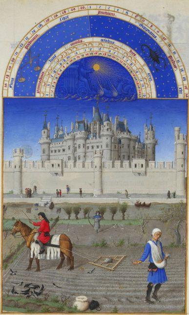 Gebroeders van Limburg - Oktober (Getijdenboek Les Tres Riches Heures)