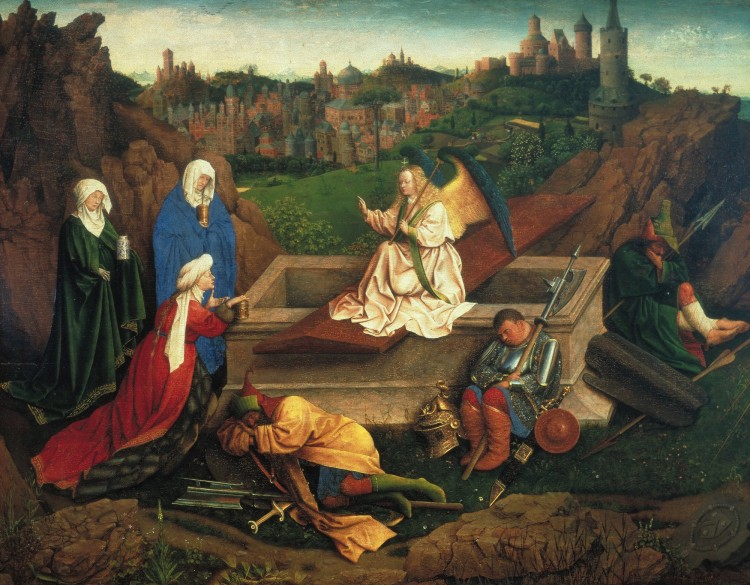 Jan van Eyck, Drie Maria's aan het graf, ca. 1430-1435.