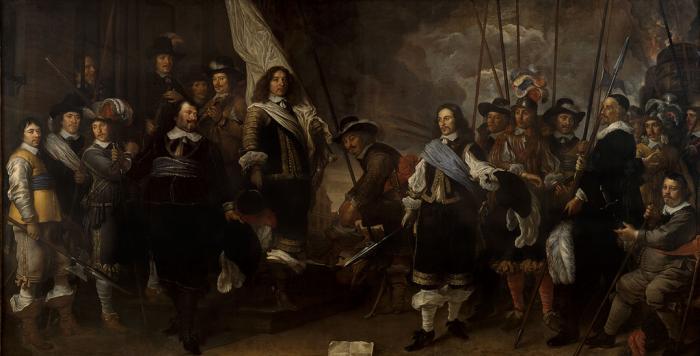 Schutters van de compagnie van kapitein Joan Huydecoper (1599-1661) en luitenant Frans Oetgens van Waveren (1619-1659) bij het sluiten van de Vrede van Munster - Govert Flinck