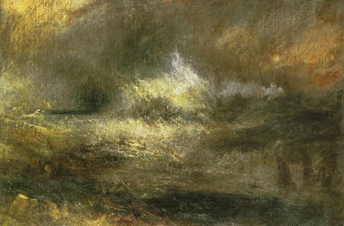 William Turner - Stormy sea with blazing wreck