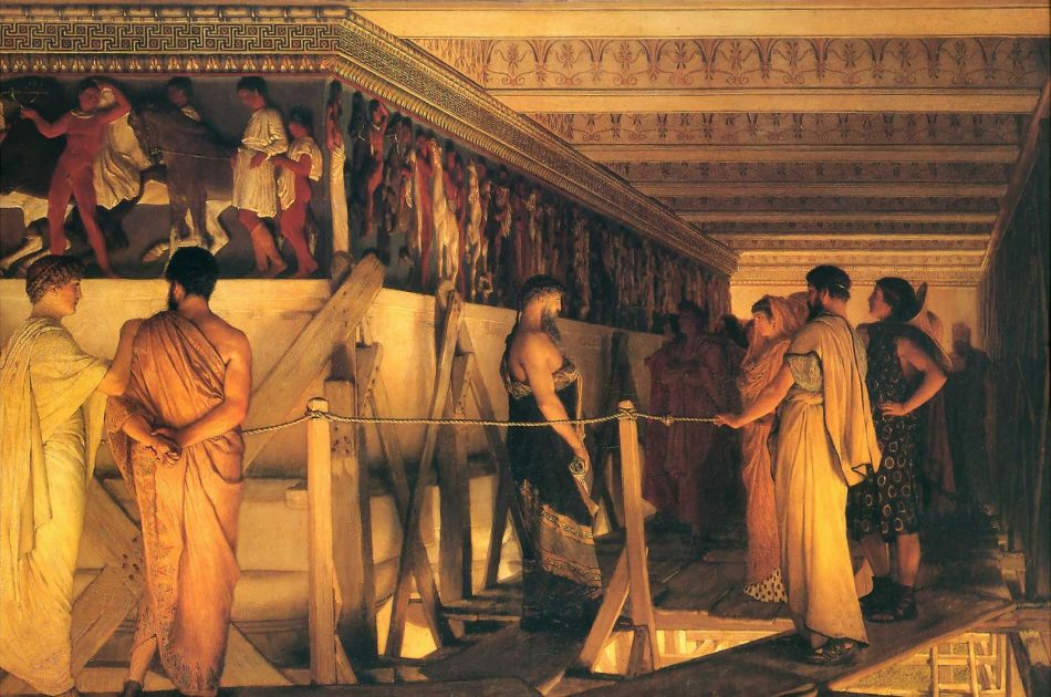 Lawrence Alma Tadema - Phidias toont het Parthenon fries