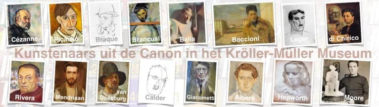 de Kunstenaars uit de Canon van de Moderne Kunst in het Kröller-Müller Museum