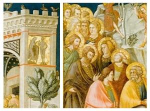 Pietro Lorenzetti - de Intocht in Jeruzalem (detail)