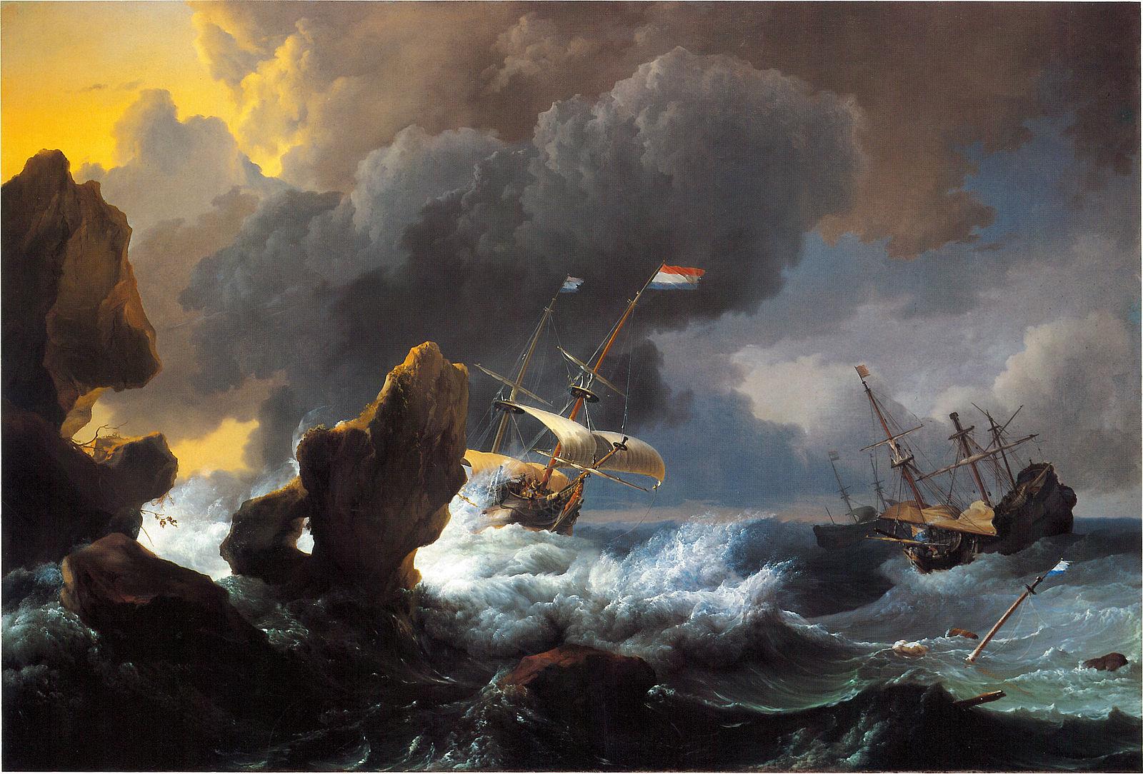 Werdz Bakhuizen-ships_in_distress_off_a_rocky_coast