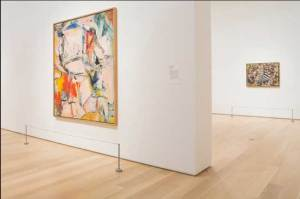 Zaaloverzicht Art Institute of Chicago met Willem de Kooning's Interchange