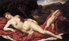 Paris Bordone - Slapende Venus met Cupido