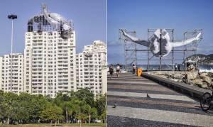 Kunstwerken van JR in Rio de Janeiro