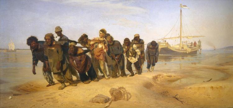 Ilya Repin (1844-1930), Wolgaslepers, 1870-1873, olieverf op doek, collectie Staats Russisch Museum, St. Petersburg