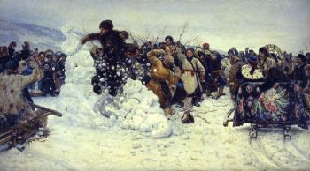 Vasily Surikov (1848-1916), Bestorming van een sneeuwstadje, 1891, olieverf op doek, collectie Staats Russisch Museum, St. Petersburg