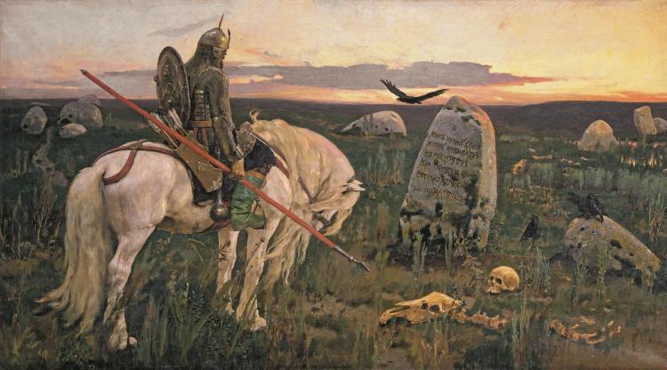 Viktor Vasnetsov (1848-1926), Ridder op driesprong, 1882 , olieverf op doek, 167 x 299 cm, collectie Staats Russisch Museum, St. Petersburg