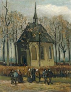 Vincent van Gogh - het Uitgaan van de Hervormde Kerk in Nuenen