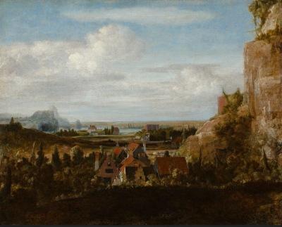 Hercules Segers - Huizen aan een stijle klif
