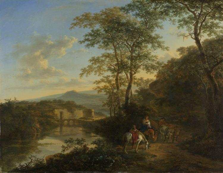 Jan Both - Zuidelijk landschap met ruiters en een ossenwagen