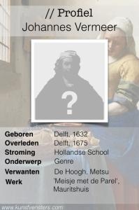 Profiel Johannes Vermeer