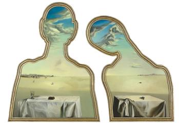 Salvador Dali - Een paar met het hoofd vol wolken