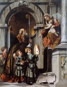 Morreto da Brescia - St Nicolaas presenteert leerlingen van Rovelli aan Maria