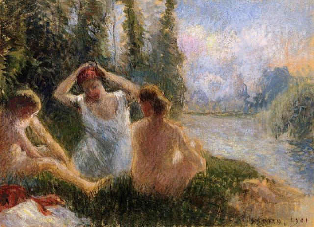 Camille Pissarro - Baigneuses au bord de la rivière