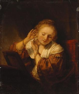 Rembrandt van Rijn - Jonge vrouw met oorbellen