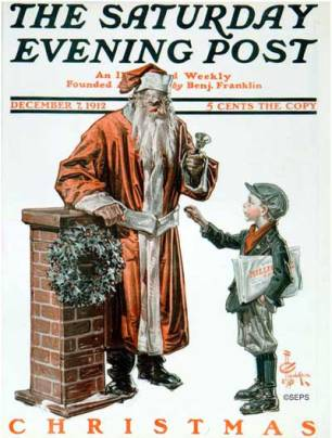 JC Leyendecker - Santa and News Boy