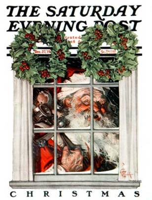 JC Leyendecker - Santa behind the Window