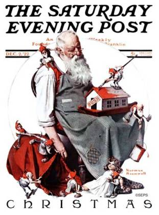 Norman Rockwell - Santa and the Elves