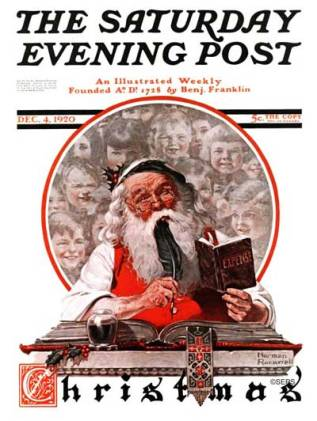 Norman Rockwell - Santa and the Expense Book