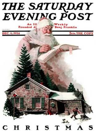 Norman Rockwell - Santa and the Christmas List