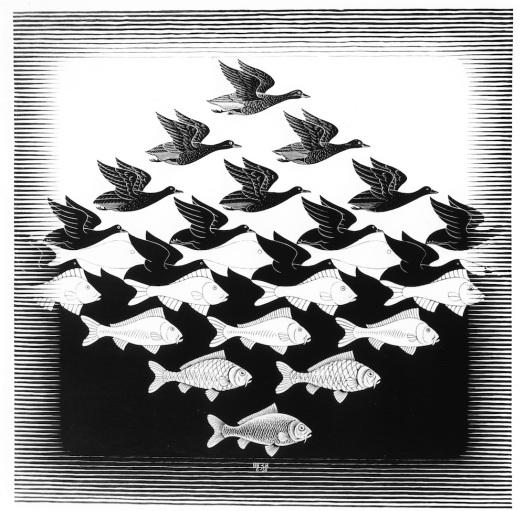 Lucht en water I (1938), M.C. Escher © the M.C. Escher Company B.V. All rights reserved. www.mcescher.com