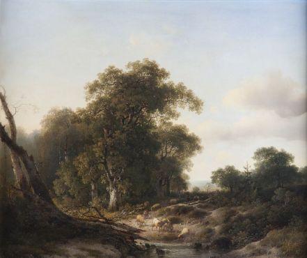 Johannes Bilders - Gilders landschap met Wodanseiken langs de Wolfhezer beek