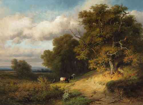 Willem Roelofs - Landschap met Wodanseiken