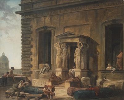 Hubert Robert, Bordes van een paleis met een portiek en kariatiden, 1800 © State Hermitage Museum, St Petersburg
