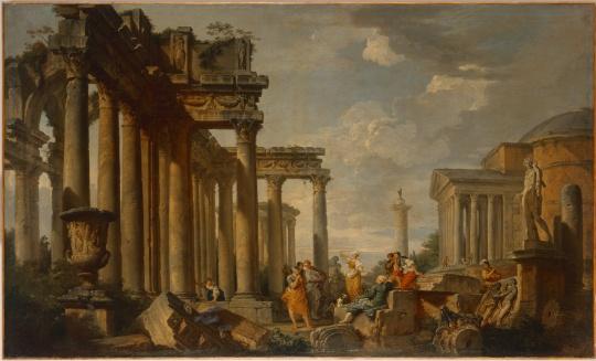 Giovanni Paolo Panini, Preek van een sibille op Romeinse ruïnes met de Apollo van Belvédère, 1740–50 © State Hermitage Museum, St Petersburg