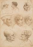 Francesco Melzi - Vijf bustes van mannen en vrouwen met een in meer of mindere mate misvormd gezicht en drie bustes van een oude man in profiel