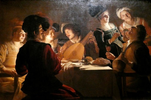 Gerard van Honthorst - het Vrolijk Gezelschap met een Luitspeler