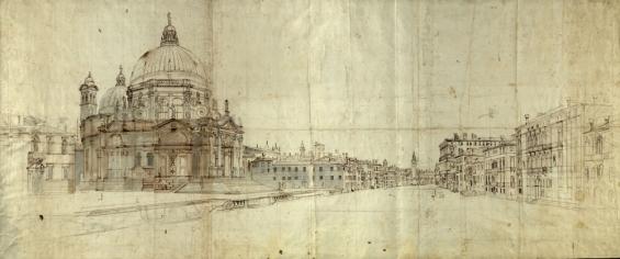 Caspar van Wittel - Venetië, Gezicht op de Salute en Canal Grande, 17e eeuw, tekening in inkt met aquarel, 50,2 x 118,2 cm, Biblioteca Nazionale Centrale Vittorio Emanuelle II, Rome