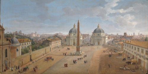 Caspar van Wittel - Gezicht op Rome met Piazza del Popolo, 1718, olieverf op doek, 56 x 109 cm, Intesa Sanpaolo Collection Gallerie di Palazzo Zevallos Stigliano, Naples