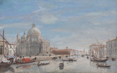 Caspar van Wittel - Santa Maria della Salute bij de ingang van Canal Grande, 1719-22, gouache, 31 x 49 cm, Holkham Hall, The Earl of Leicester and the trustees of Holkham Estate