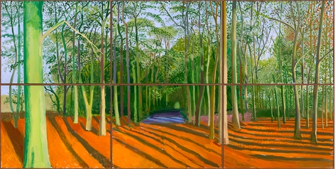 "David Hockney ""Woldgate Woods, 6 & 9 November 2006"" Oil on 6 canvases (36 x 48"" each) 72 x 144"" overall © David Hockney Photo Credit: Richard Schmidt"