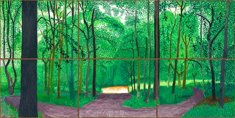 "David Hockney ""Woldgate Woods, 26, 27 & 30 July 2006"" Oil on 6 canvases (36 x 48"" each) 72 x 144"" overall © David Hockney Photo Credit: Richard Schmidt"