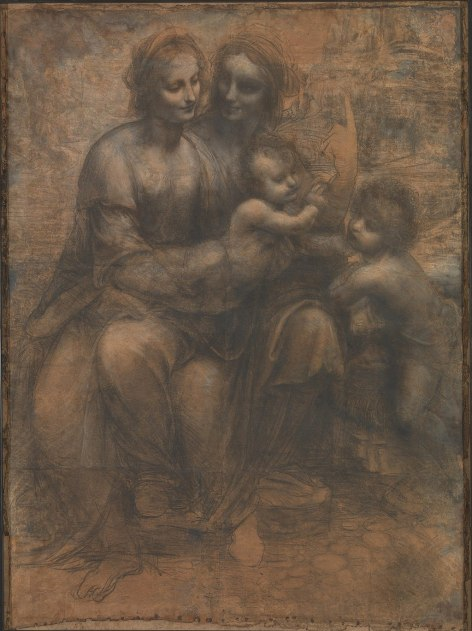 Leonardo da Vinci - Maria met Christus, St Anna en Johannes de Doper