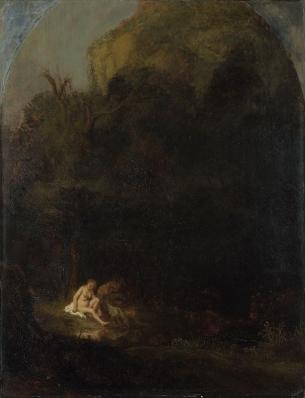 Volger van Rembrandt - Badende Diana met een satyr