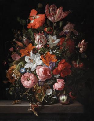 Rachel Ruysch - Bloemstilleven in Vaas (Detroit Institute of Art)