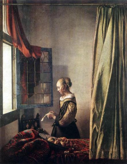 Johannes Vermeer - Brieflezend meisje bij het venster (voor restauratie)