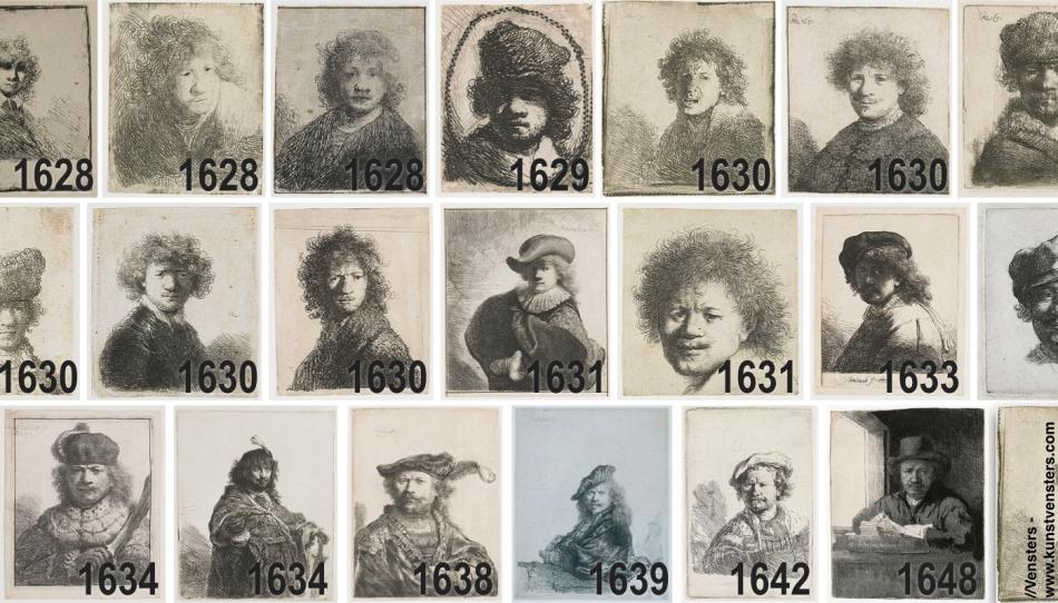 Rembrandt zelfportretten ets
