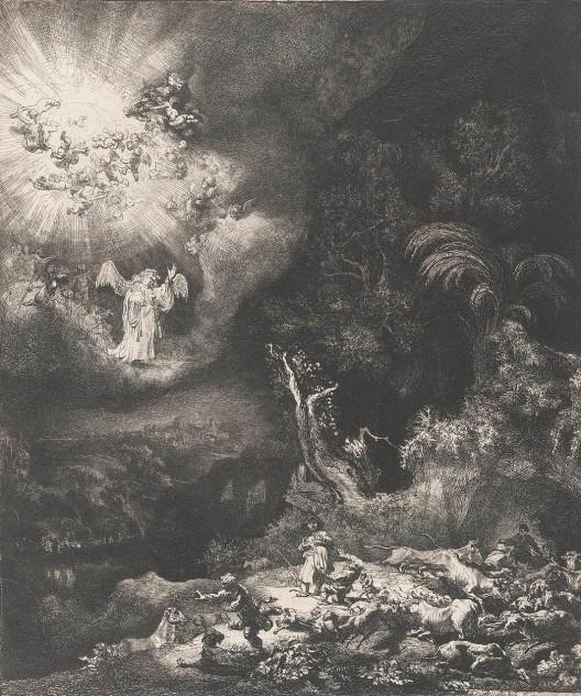 Rembrandt van Rijn - Herders in het veld met een engel