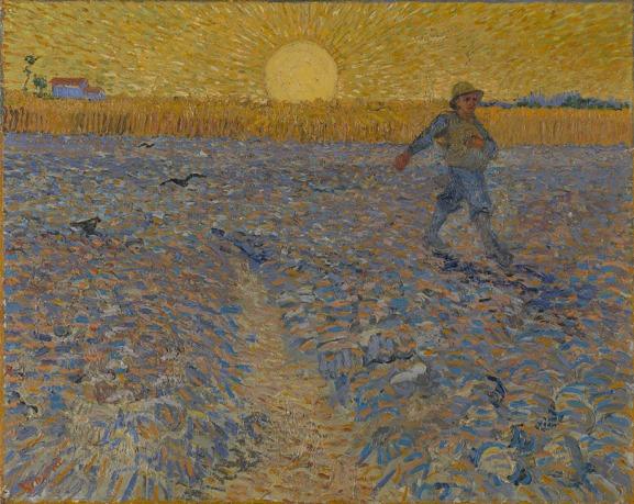 Vincent van Gogh, 'De zaaier', 1888, Olieverf op doek, 62 x 80 cm, Coll. Kröller-Müller Museum, Otterlo