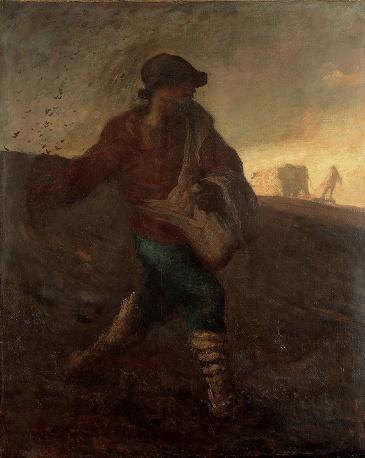 Jean-François Millet, 'De zaaier', 1850, Olieverf op doek, 100 x 80 cm, Yamanashi Prefectural Museum of Art, Japan