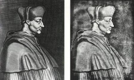 Kardinaal Georges d'Amboise (links de oorspronkelijke ets, rechts de heliograaf van Niépce)
