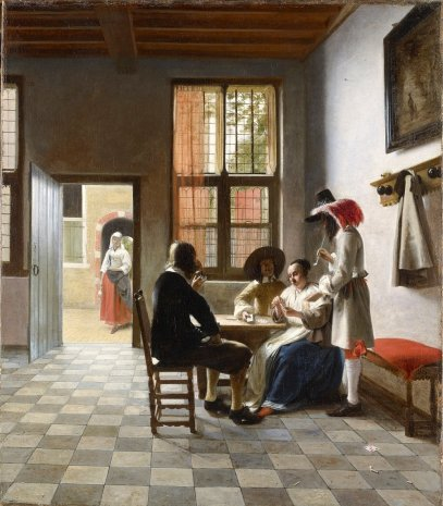 Pieter de Hooch - Kaartspelers in een zonovergoten ruimte, 1658 Royal Collection Trust / © Her Majesty Queen Elizabeth II 2019