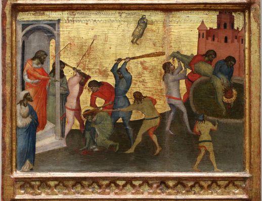 Giovanni del Biondo - St Sebastiaan wordt neergeknuppeld